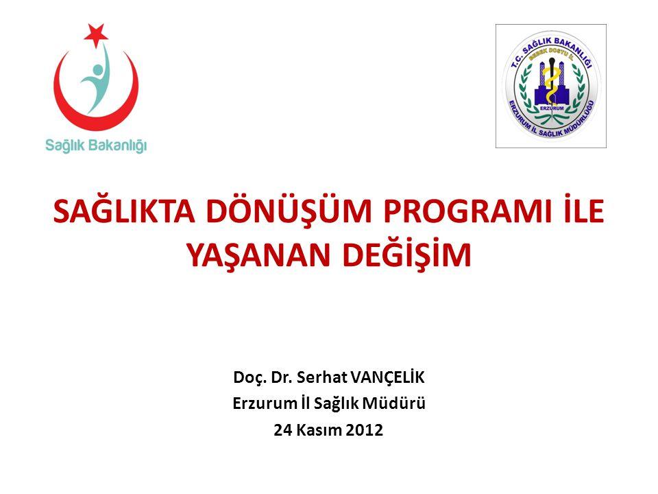 SAĞLIKTA DÖNÜŞÜM PROGRAMI İLE YAŞANAN DEĞİŞİM Doç. Dr. Serhat VANÇELİK Erzurum İl Sağlık Müdürü 24 Kasım 2012