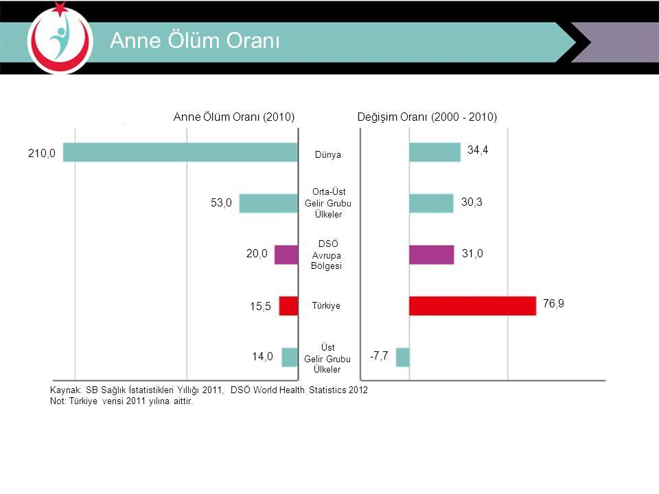Anne Ölüm Oranı Anne Ölüm Oranı (2010)Değişim Oranı (2000 - 2010) 210,0 Dünya 34,4 Orta-Üst 53,0 Gelir Grubu 30,3 Ülkeler DSÖ 20,0 Avrupa 31,0 Bölgesi