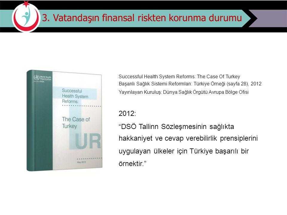 3. Vatandaşın finansal riskten korunma durumu Successful Health System Reforms: The Case Of Turkey Başarılı Sağlık Sistemi Reformları: Türkiye Örneği