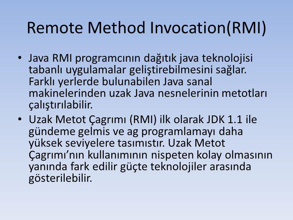Remote Method Invocation(RMI) • Java RMI programcının dağıtık java teknolojisi tabanlı uygulamalar geliştirebilmesini sağlar.