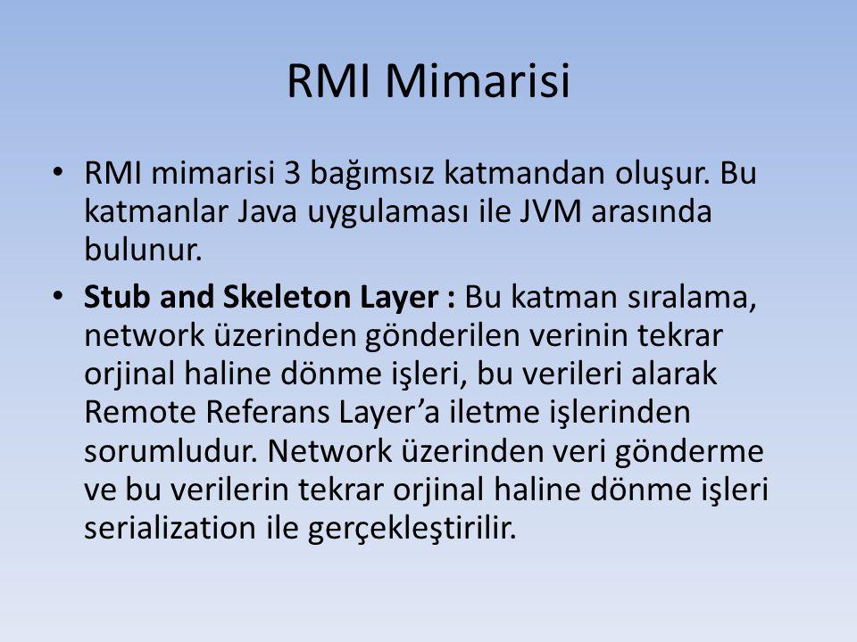 Java RMI Uygulaması Yaratmak 5 • Interface'imize java.rmi.Remote ve java.rmi.RemoteExeption klaslarını import ediyoruz.