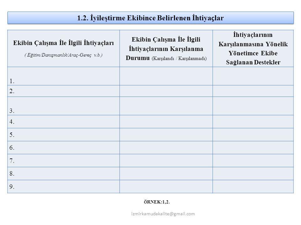 Ekibin Çalışma İle İlgili İhtiyaçları ( Eğitim/Danışmanlık/Araç-Gereç v.b.) Ekibin Çalışma İle İlgili İhtiyaçlarının Karşılanma Durumu (Karşılandı / Karşılanmadı) İhtiyaçlarının Karşılanmasına Yönelik Yönetimce Ekibe Sağlanan Destekler 1.
