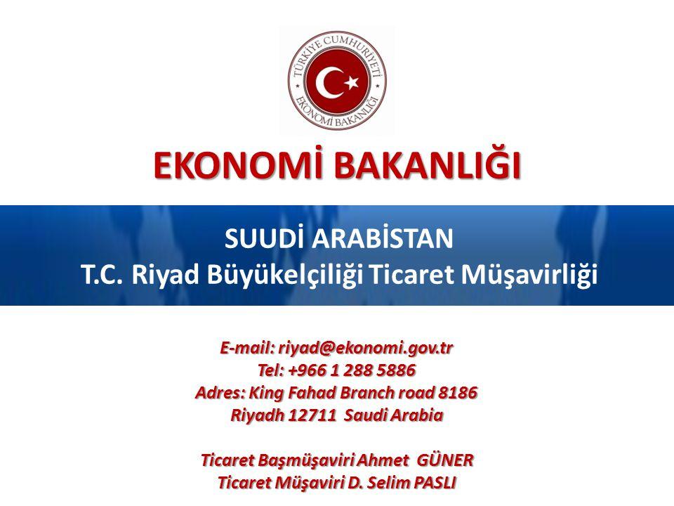 EKONOMİ BAKANLIĞI SUUDİ ARABİSTAN T.C. Riyad Büyükelçiliği Ticaret Müşavirliği E-mail: riyad@ekonomi.gov.tr Tel: +966 1 288 5886 Adres: King Fahad Bra