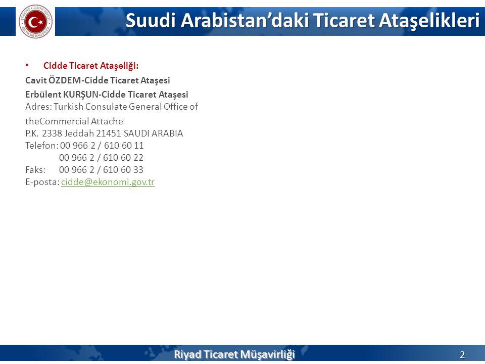 Suudi Arabistan'daki Ticaret Ataşelikleri 2 • Cidde Ticaret Ataşeliği: Cavit ÖZDEM-Cidde Ticaret Ataşesi Erbülent KURŞUN-Cidde Ticaret Ataşesi Adres: