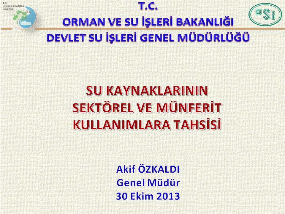 • Giriş  Su Kaynakları- Genel Tanımlar  Havzalarımız • Türkiye, Avrupa Birliği Ülkeleri ve Dünyada Su Tahsislerinde Durum • 6200, 1053, 167 Sayılı Kanunlarda ve 662 Sayılı Kanun Hükmünde Kararname'de Tahsis İle İlgili Hükümler ve Bu Hükümler Çerçevesinde Türkiye'de Mevcut Uygulama • Tahsislerde Gözlem Faaliyetlerinin Yeri ve Önemi • Su Kanunu Tasarısı Taslağı ile Su Kaynakları Tahsisinde Öngörülen Uygulama ve Kurumsal Yapı • Mevzuat Karşılaştırması 2/55