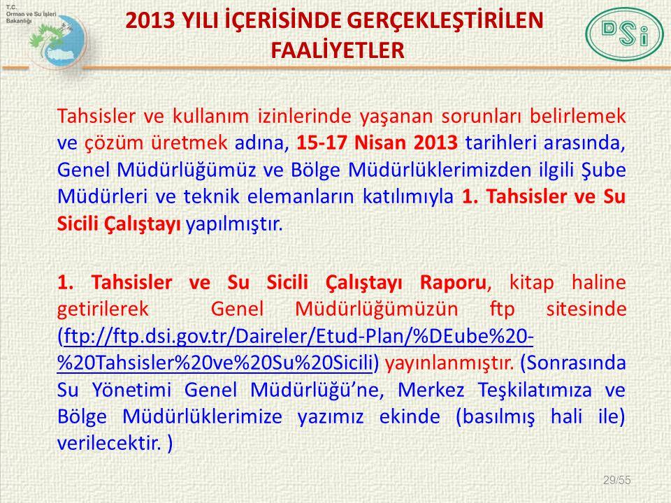 2013 YILI İÇERİSİNDE GERÇEKLEŞTİRİLEN FAALİYETLER Tahsisler ve kullanım izinlerinde yaşanan sorunları belirlemek ve çözüm üretmek adına, 15-17 Nisan 2