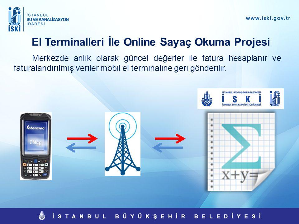 El Terminalleri İle Online Sayaç Okuma Projesi Merkezde anlık olarak güncel değerler ile fatura hesaplanır ve faturalandırılmış veriler mobil el termi