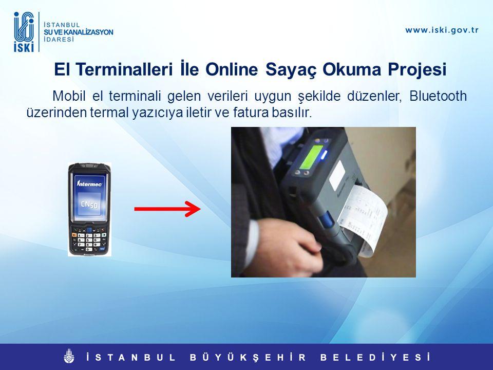 El Terminalleri İle Online Sayaç Okuma Projesi Mobil el terminali gelen verileri uygun şekilde düzenler, Bluetooth üzerinden termal yazıcıya iletir ve