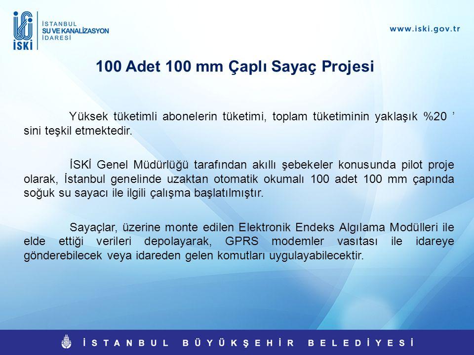 100 Adet 100 mm Çaplı Sayaç Projesi Yüksek tüketimli abonelerin tüketimi, toplam tüketiminin yaklaşık %20 ' sini teşkil etmektedir. İSKİ Genel Müdürlü