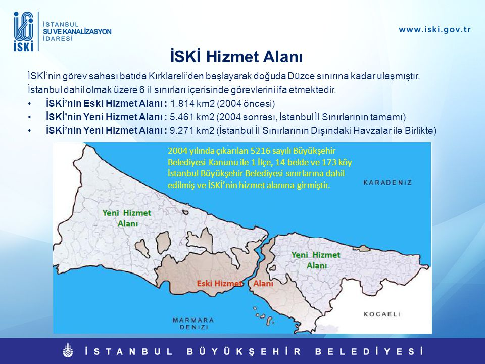 İstanbul ve İSKİ ile İlgili İstatistiki Bilgiler  İstanbul Nüfusu :13,854,740 (2012 TUİK verilerine göre)  Abone Sayısı : 5,369,178  Toplam Hizmet Alanı : 5.461km 2  Su Şebeke Uzunluğu : 17.424 km  Kanal Şebeke Uzunluğu : 14.064 km  Su Kaynaklarının Verimi : 1 milyar 353 milyon m 3 /yıl  Şehre Verilen Ortalama Su : 2.400.000 m 3 /gün  Su Depolarının Hacmi : 1.435.580 m 3  Bütçe (2013) : 3 milyar 548 milyon TL  Yatırım (2013) : 1 milyar 661 milyon TL