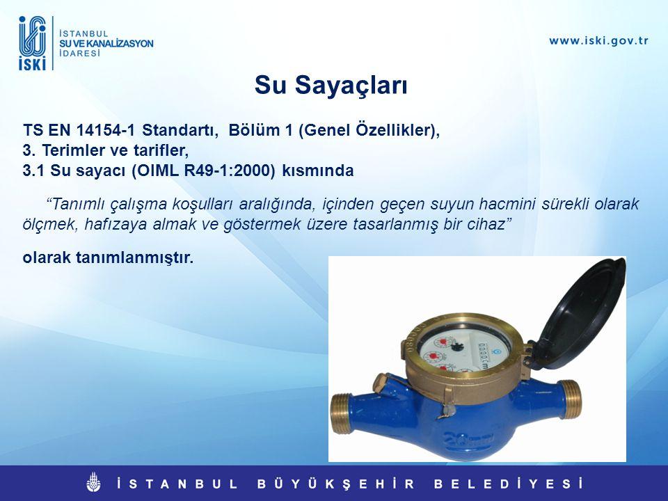 """Su Sayaçları TS EN 14154-1 Standartı, Bölüm 1 (Genel Özellikler), 3. Terimler ve tarifler, 3.1 Su sayacı (OIML R49-1:2000) kısmında """"Tanımlı çalışma k"""
