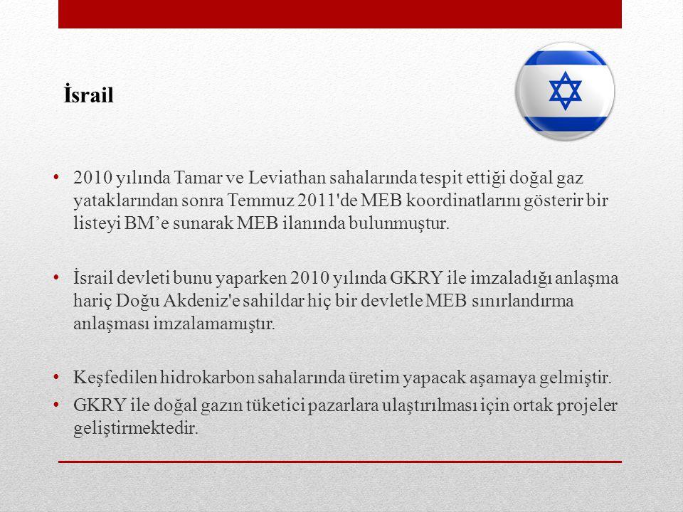 İsrail • 2010 yılında Tamar ve Leviathan sahalarında tespit ettiği doğal gaz yataklarından sonra Temmuz 2011 de MEB koordinatlarını gösterir bir listeyi BM'e sunarak MEB ilanında bulunmuştur.