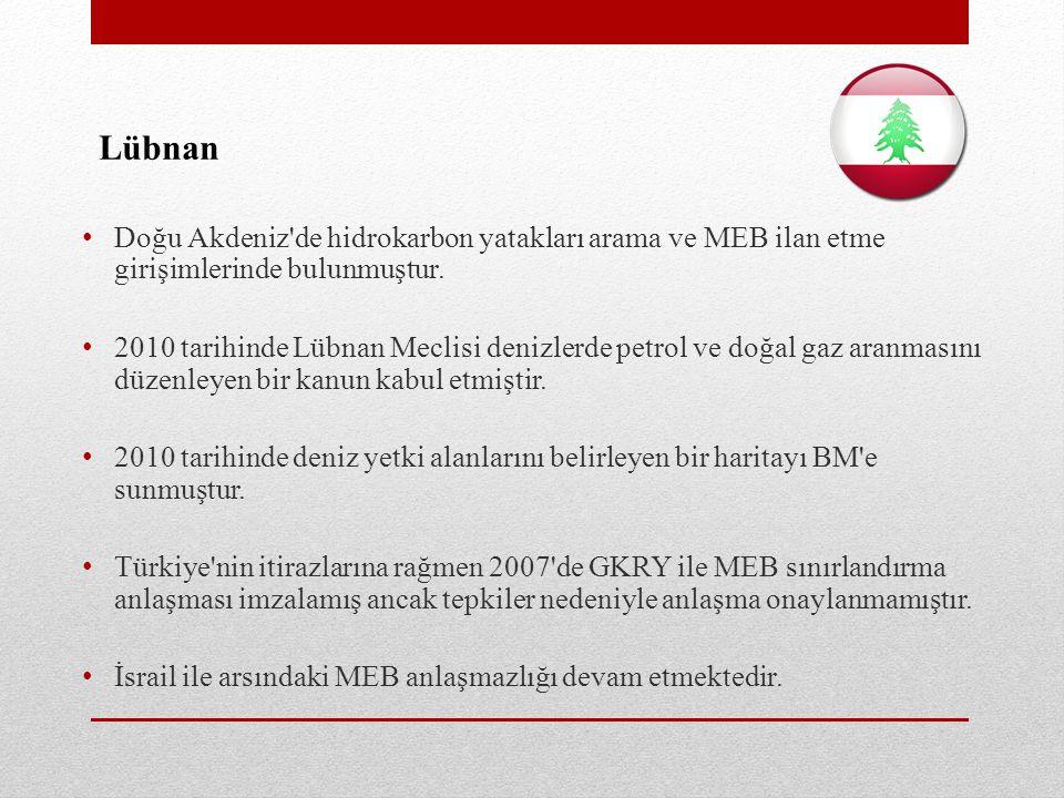 Lübnan • Doğu Akdeniz de hidrokarbon yatakları arama ve MEB ilan etme girişimlerinde bulunmuştur.
