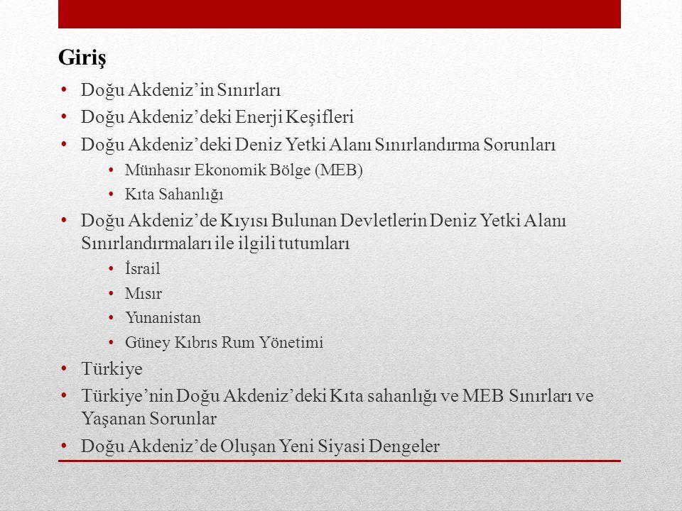 Türkiye'nin Doğu Akdeniz'deki Kıta Sahanlığı ve MEB Sınırları • Türkiye'nin sınırlandırma anlaşması açısından en sorunlu bölgesi Kıbrıs'ın batısında kalan bölgedir.