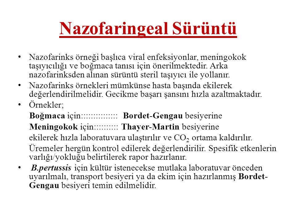 Nazofaringeal Sürüntü • Nazofarinks örneği başlıca viral enfeksiyonlar, meningokok taşıyıcılığı ve boğmaca tanısı için önerilmektedir. Arka nazofarink