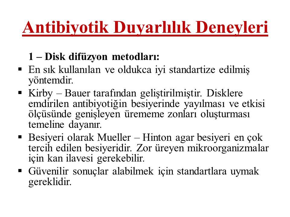 Antibiyotik Duyarlılık Deneyleri 1 – Disk difüzyon metodları:  En sık kullanılan ve oldukca iyi standartize edilmiş yöntemdir.  Kirby – Bauer tarafı