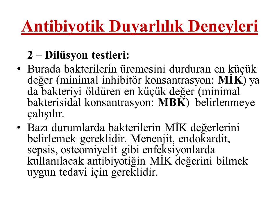 Antibiyotik Duyarlılık Deneyleri 2 – Dilüsyon testleri: • Burada bakterilerin üremesini durduran en küçük değer (minimal inhibitör konsantrasyon: MİK)