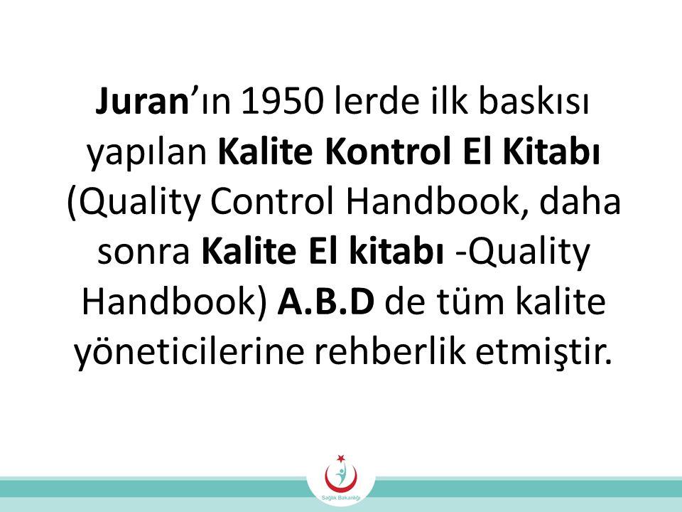 Juran'ın 1950 lerde ilk baskısı yapılan Kalite Kontrol El Kitabı (Quality Control Handbook, daha sonra Kalite El kitabı -Quality Handbook) A.B.D de tüm kalite yöneticilerine rehberlik etmiştir.