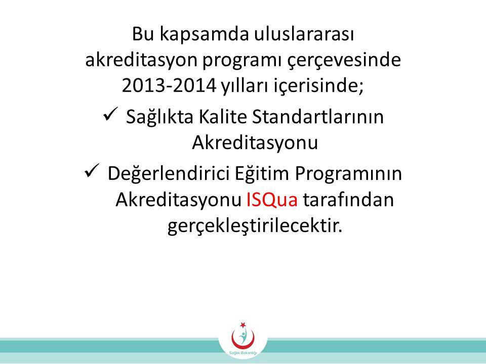 Bu kapsamda uluslararası akreditasyon programı çerçevesinde 2013-2014 yılları içerisinde;  Sağlıkta Kalite Standartlarının Akreditasyonu  Değerlendirici Eğitim Programının Akreditasyonu ISQua tarafından gerçekleştirilecektir.