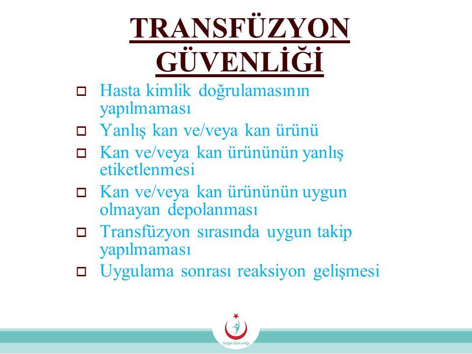TRANSFÜZYON GÜVENLİĞİ  Hasta kimlik doğrulamasının yapılmaması  Yanlış kan ve/veya kan ürünü  Kan ve/veya kan ürününün yanlış etiketlenmesi  Kan ve/veya kan ürününün uygun olmayan depolanması  Transfüzyon sırasında uygun takip yapılmaması  Uygulama sonrası reaksiyon gelişmesi