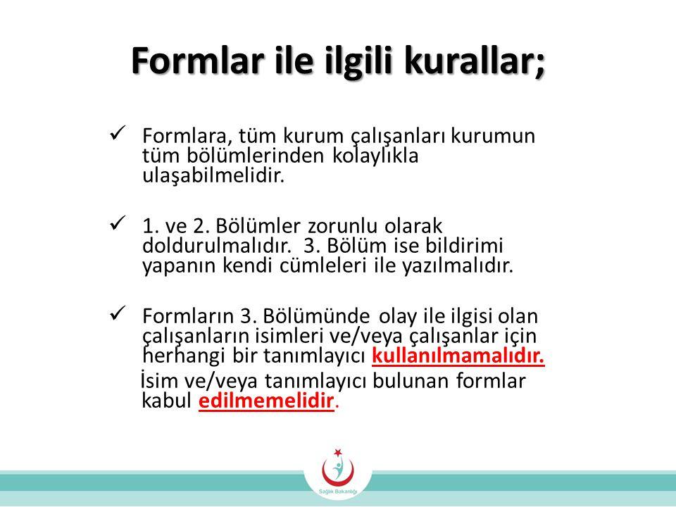 Formlar ile ilgili kurallar;  Formlara, tüm kurum çalışanları kurumun tüm bölümlerinden kolaylıkla ulaşabilmelidir.