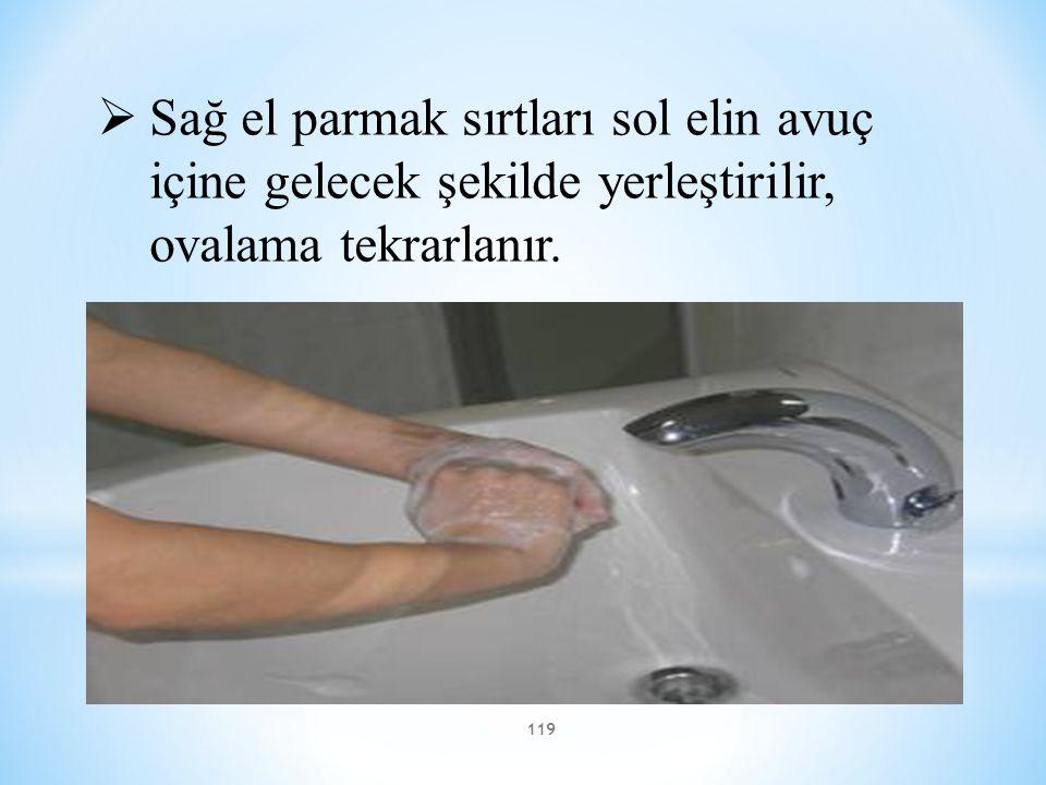 119 * Etkili el yıkama  Sağ el parmak sırtları sol elin avuç içine gelecek şekilde yerleştirilir, ovalama tekrarlanır.