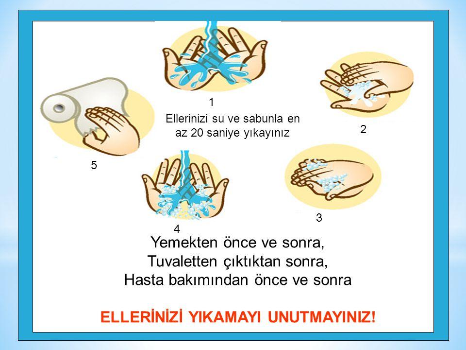 128 Yemekten önce ve sonra, Tuvaletten çıktıktan sonra, Hasta bakımından önce ve sonra ELLERİNİZİ YIKAMAYI UNUTMAYINIZ! Ellerinizi su ve sabunla en az