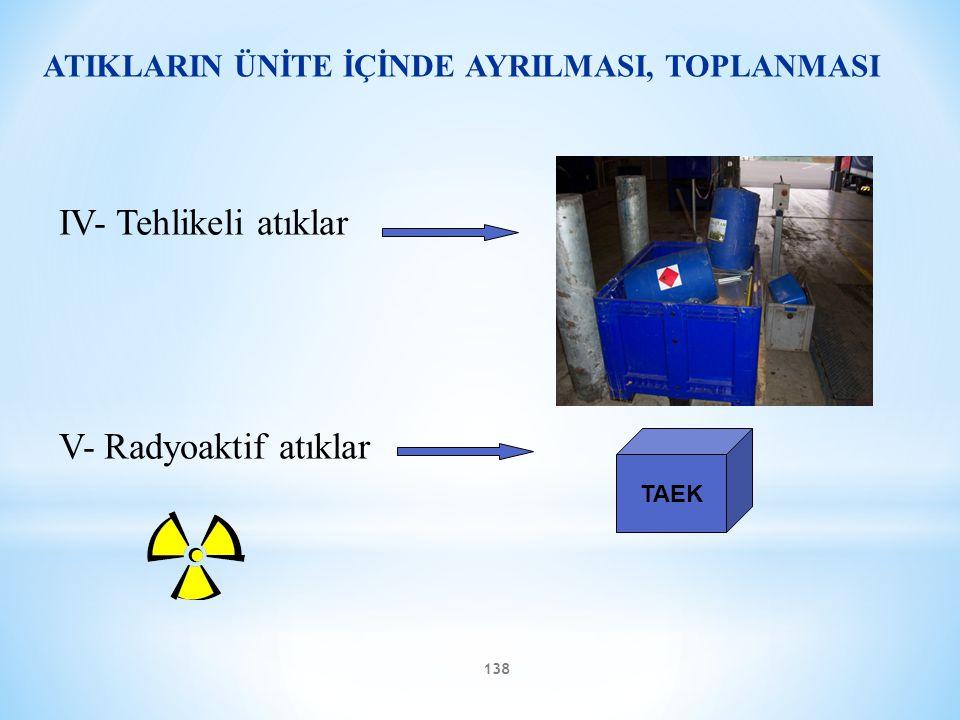 138 ATIKLARIN ÜNİTE İÇİNDE AYRILMASI, TOPLANMASI IV- Tehlikeli atıklar V- Radyoaktif atıklar TAEK
