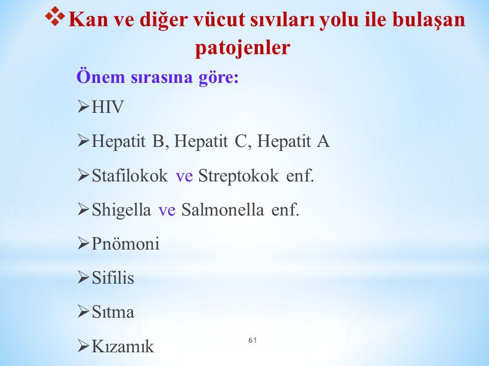 61 Önem sırasına göre:  HIV  Hepatit B, Hepatit C, Hepatit A  Stafilokok ve Streptokok enf.  Shigella ve Salmonella enf.  Pnömoni  Sifilis  Sıt