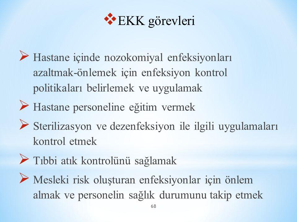 68  EKK görevleri  Hastane içinde nozokomiyal enfeksiyonları azaltmak-önlemek için enfeksiyon kontrol politikaları belirlemek ve uygulamak  Hastane