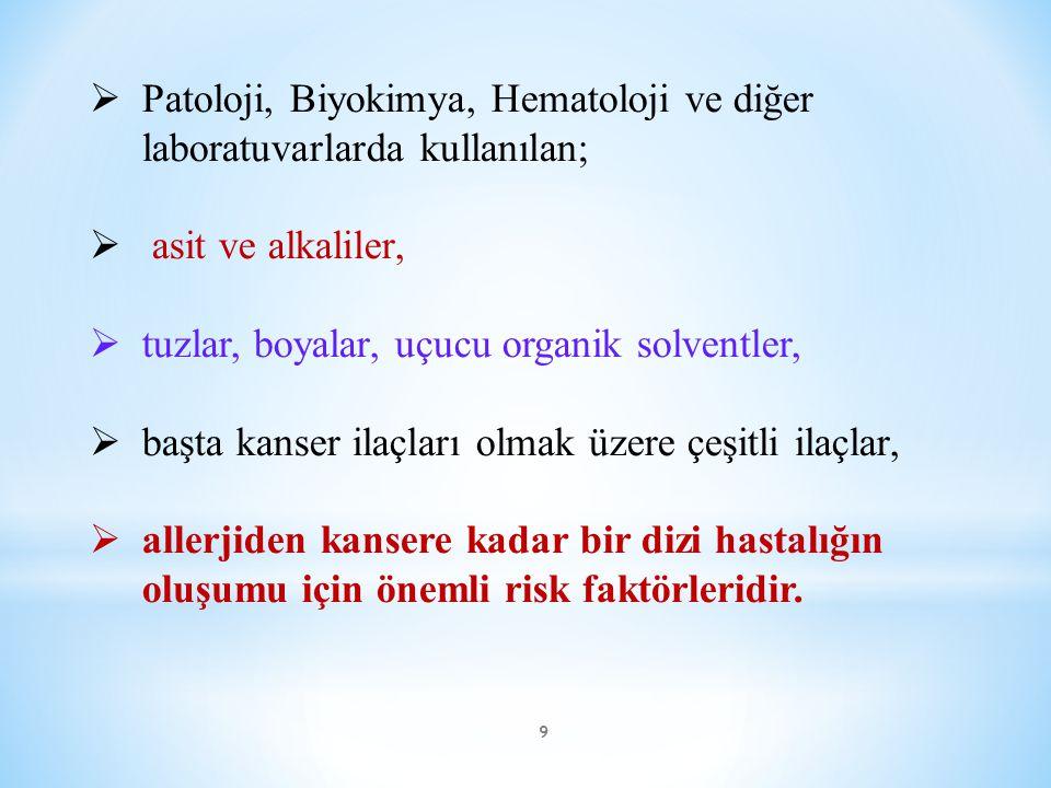 9  Patoloji, Biyokimya, Hematoloji ve diğer laboratuvarlarda kullanılan;  asit ve alkaliler,  tuzlar, boyalar, uçucu organik solventler,  başta ka