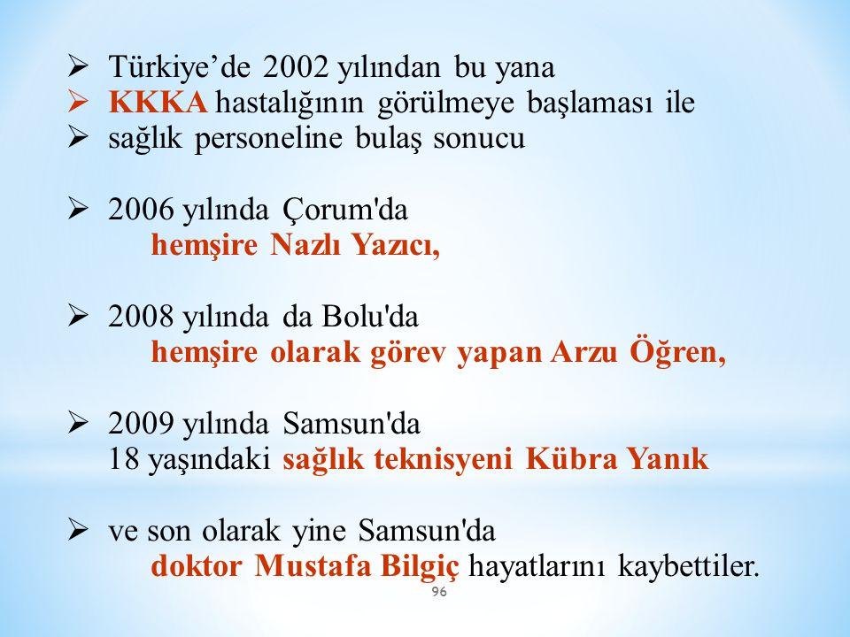 96  Türkiye'de 2002 yılından bu yana  KKKA hastalığının görülmeye başlaması ile  sağlık personeline bulaş sonucu  2006 yılında Çorum'da hemşire Na