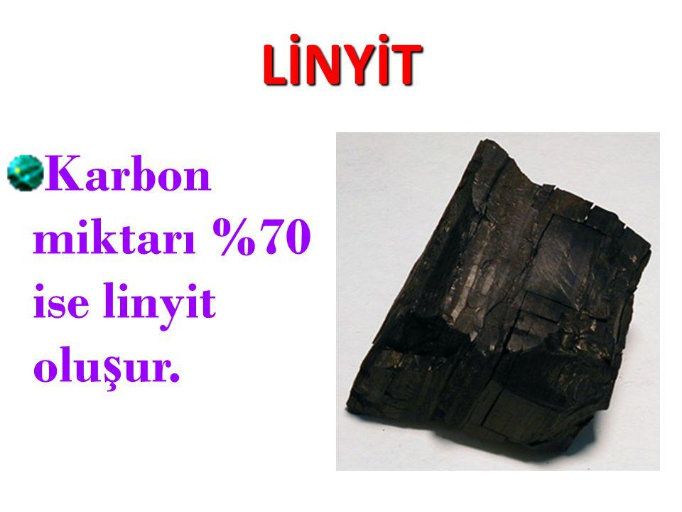 LİNYİT Karbon miktarı %70 ise linyit olu ş ur.