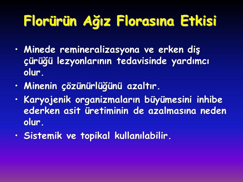 Florürün Ağız Florasına Etkisi •Minede remineralizasyona ve erken diş çürüğü lezyonlarının tedavisinde yardımcı olur. •Minenin çözünürlüğünü azaltır.