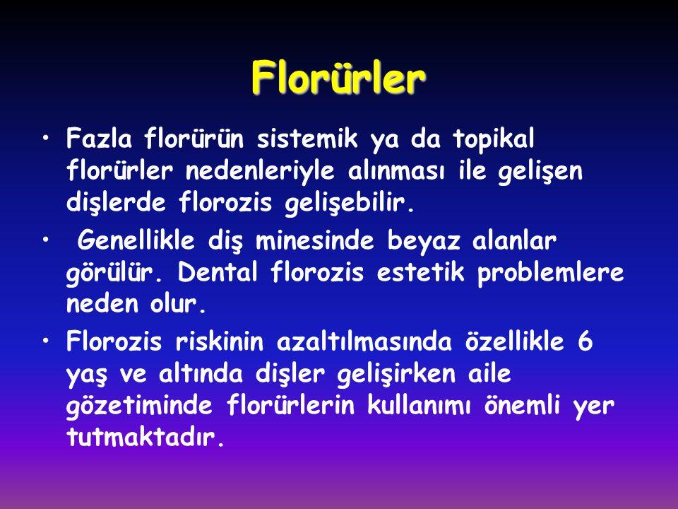 •Fazla florürün sistemik ya da topikal florürler nedenleriyle alınması ile gelişen dişlerde florozis gelişebilir. • Genellikle diş minesinde beyaz ala