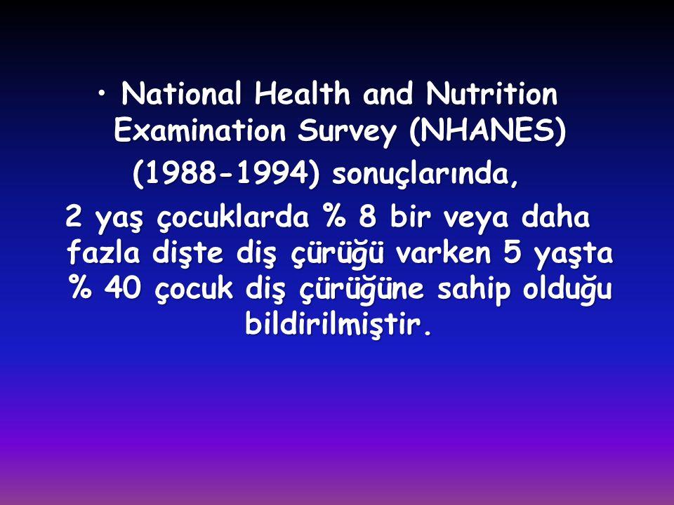 •National Health and Nutrition Examination Survey (NHANES) (1988-1994) sonuçlarında, 2 yaş çocuklarda % 8 bir veya daha fazla dişte diş çürüğü varken