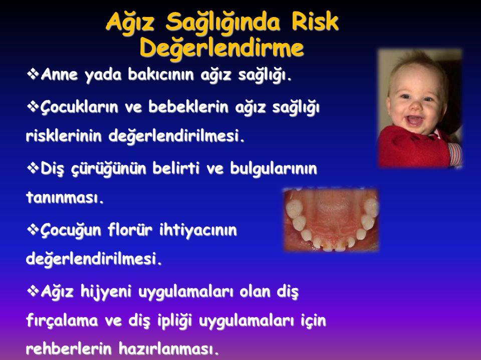 Ağız Sağlığında Risk Değerlendirme  Anne yada bakıcının ağız sağlığı.  Çocukların ve bebeklerin ağız sağlığı risklerinin değerlendirilmesi.  Diş çü