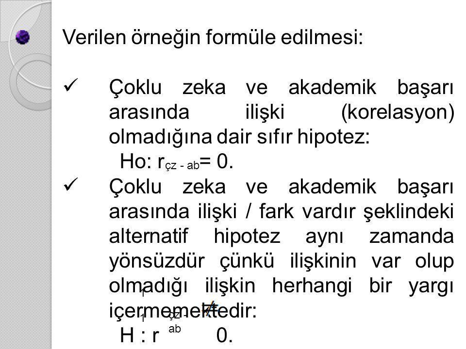 Verilen örneğin formüle edilmesi: ÇÇoklu zeka ve akademik başarı arasında ilişki (korelasyon) olmadığına dair sıfır hipotez: Ho: r = 0. ÇÇoklu zek