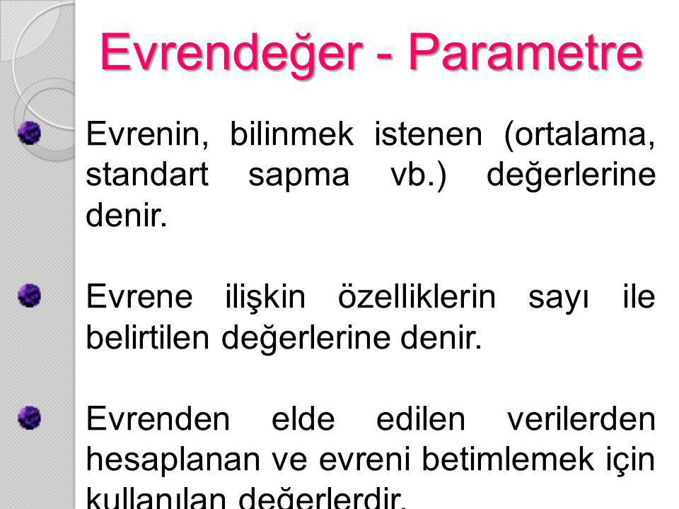 Evrendeğer - Parametre Evrenin, bilinmek istenen (ortalama, standart sapma vb.) değerlerine denir. Evrene ilişkin özelliklerin sayı ile belirtilen değ