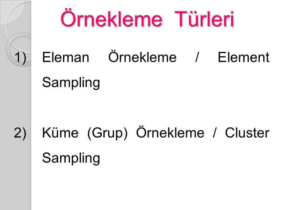 Örnekleme Türleri 1)Eleman Örnekleme / Element Sampling 2)Küme (Grup) Örnekleme / Cluster Sampling