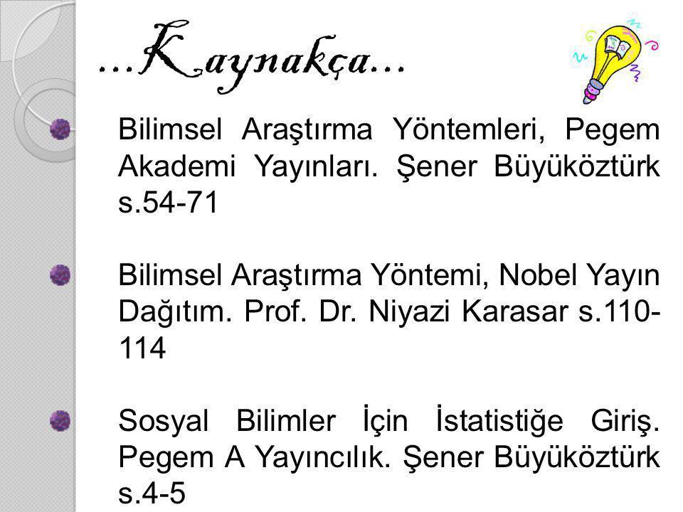 ...Kaynakça... Bilimsel Araştırma Yöntemleri, Pegem Akademi Yayınları. Şener Büyüköztürk s.54-71 Bilimsel Araştırma Yöntemi, Nobel Yayın Dağıtım. Prof