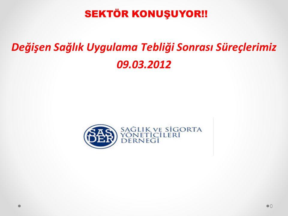 Değişen Sağlık Uygulama Tebliği Sonrası Süreçlerimiz 09.03.2012 SEKTÖR KONUŞUYOR!! 0