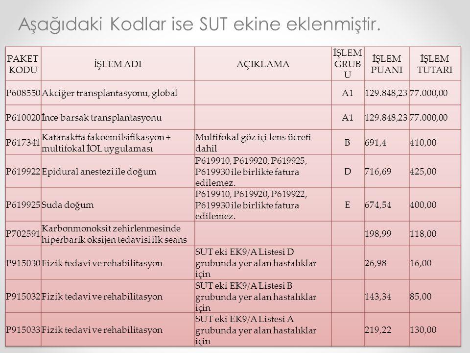 Aşağıdaki Kodlar ise SUT ekine eklenmiştir.