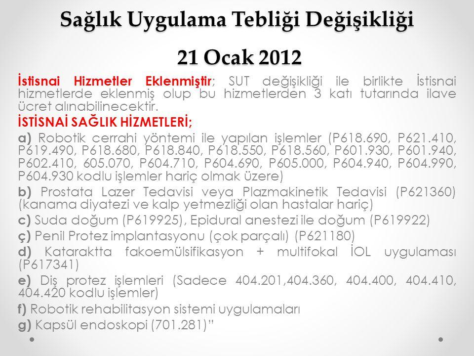 Sağlık Uygulama Tebliği Değişikliği 21 Ocak 2012 İstisnai Hizmetler Eklenmiştir ; SUT değişikliği ile birlikte İstisnai hizmetlerde eklenmiş olup bu h