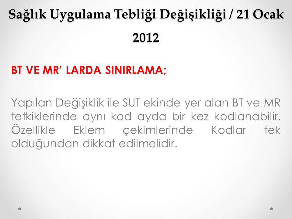 Sağlık Uygulama Tebliği Değişikliği / 21 Ocak 2012 BT VE MR' LARDA SINIRLAMA; Yapılan Değişiklik ile SUT ekinde yer alan BT ve MR tetkiklerinde aynı k