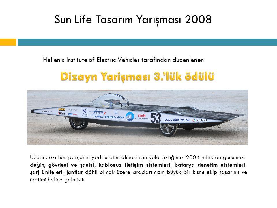 Sun Life Tasarım Yarışması 2008 Hellenic Institute of Electric Vehicles tarafından düzenlenen Üzerindeki her parçanın yerli üretim olması için yola çı