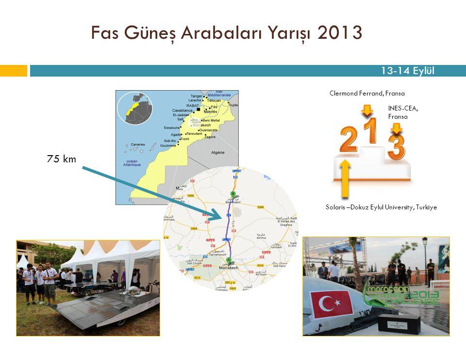 Fas Güneş Arabaları Yarışı 2013 75 km Solaris –Dokuz Eylul University, Turkiye Clermond Ferrand, Fransa INES-CEA, Fransa 13-14 Eylül