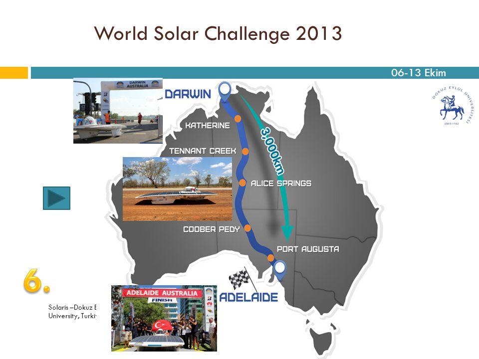World Solar Challenge 2013 Solaris –Dokuz Eylul University, Turkiye 06-13 Ekim