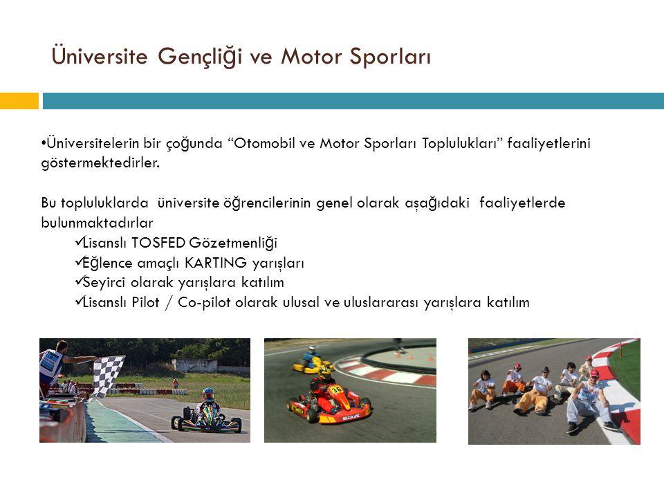 """Üniversite Gençli ğ i ve Motor Sporları • Üniversitelerin bir ço ğ unda """"Otomobil ve Motor Sporları Toplulukları"""" faaliyetlerini göstermektedirler. Bu"""