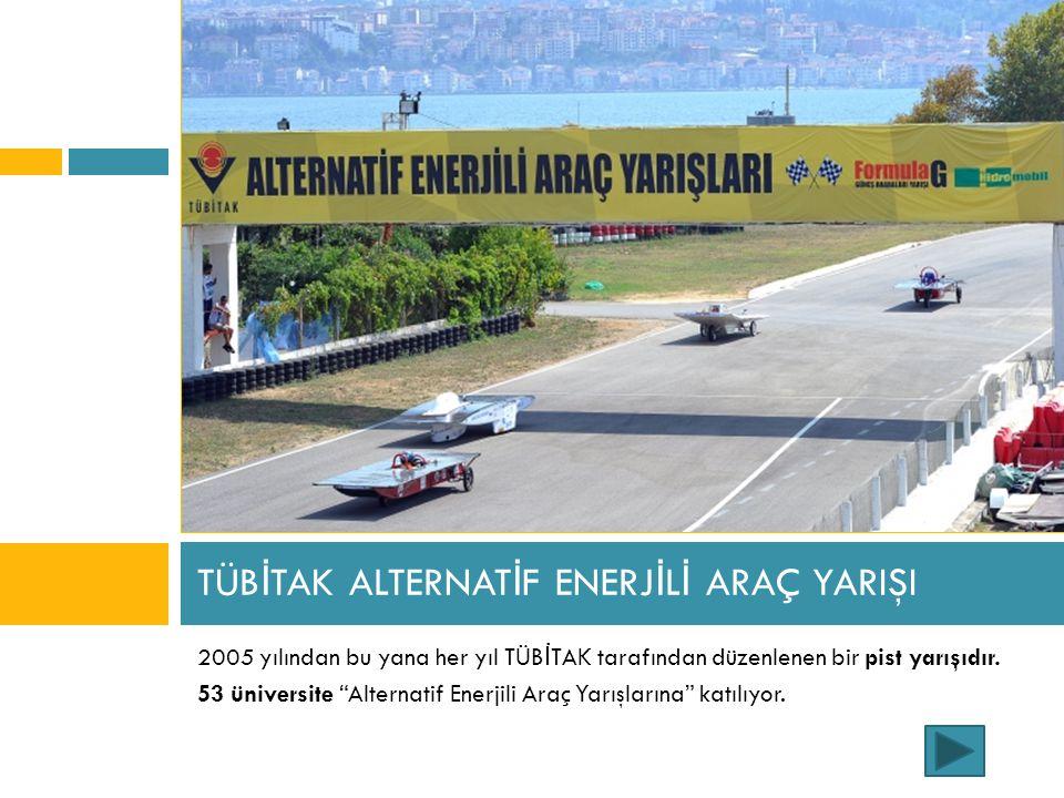 """TÜB İ TAK ALTERNAT İ F ENERJ İ L İ ARAÇ YARIŞI 2005 yılından bu yana her yıl TÜB İ TAK tarafından düzenlenen bir pist yarışıdır. 53 üniversite """"Altern"""